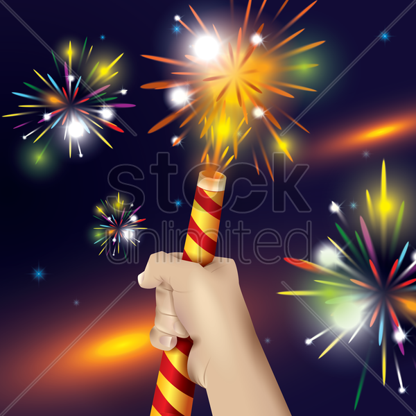 hands holding a firework tube vector graphic