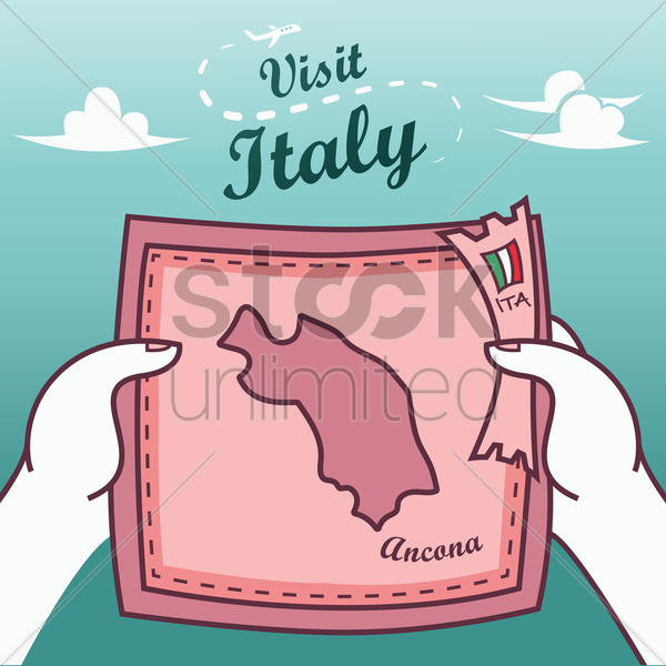 hands holding ancona paper map vector graphic