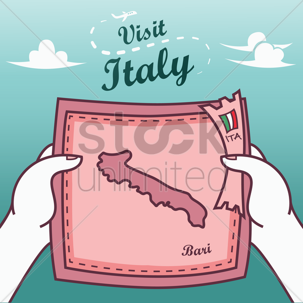 hands holding bari paper map vector graphic