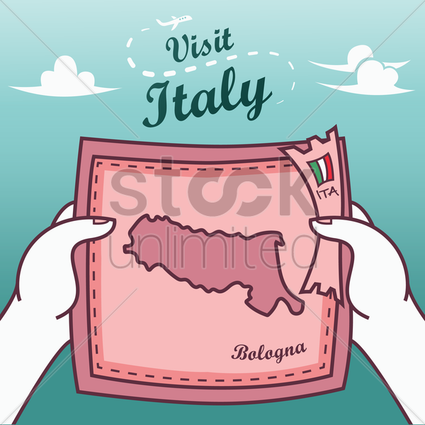 hands holding bologna paper map vector graphic