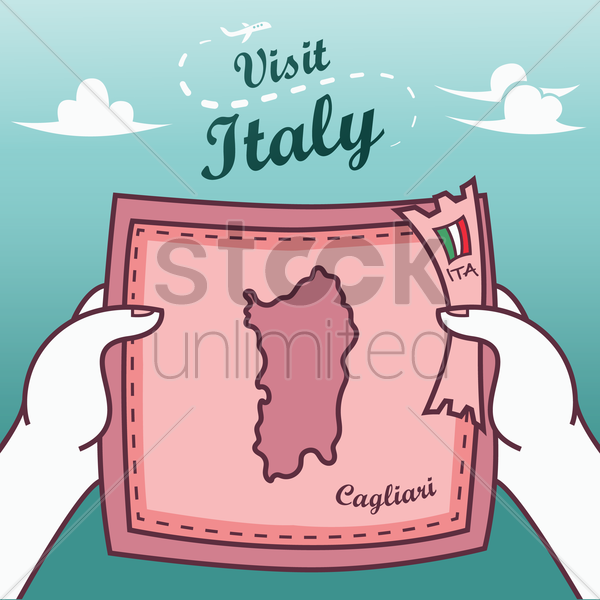 hands holding cagliari paper map vector graphic