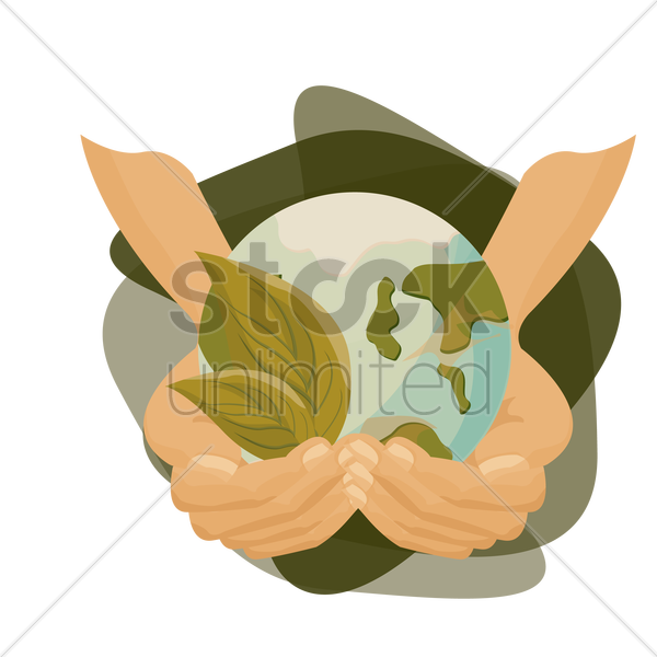 hands holding earth with a leaf vector graphic