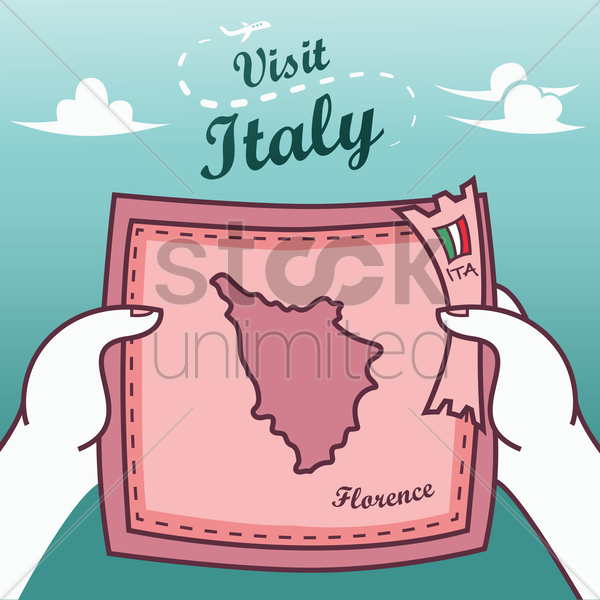 hands holding florence paper map vector graphic