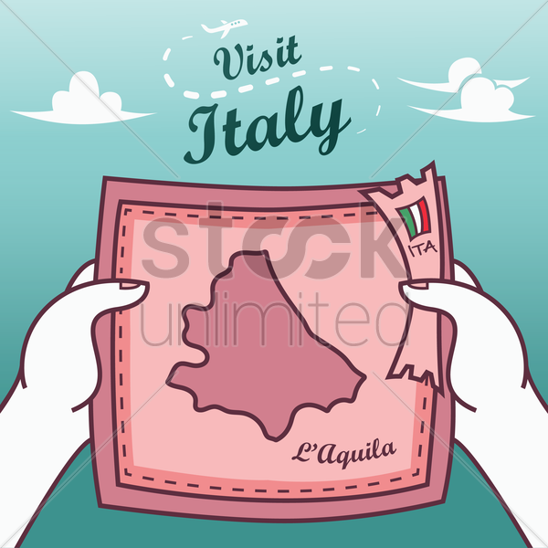 hands holding l'aquila paper map vector graphic