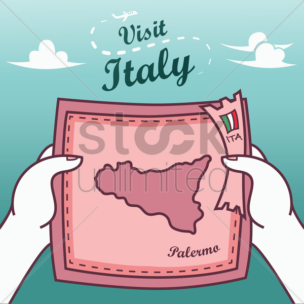 hands holding palermo paper map vector graphic