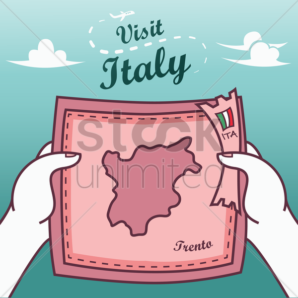 hands holding trento paper map vector graphic