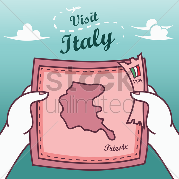 hands holding trieste paper map vector graphic