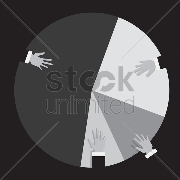 Free hands on a pie chart vector graphic