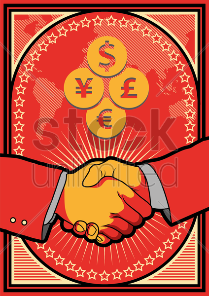 handshake and successful business transaction vector graphic