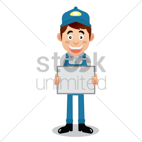 handyman holding a whiteboard vector graphic