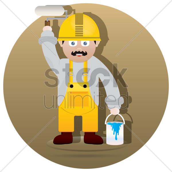 handyman with paint roller and bucket vector graphic