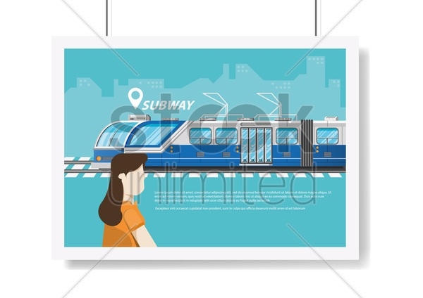 hanging poster with subway travel concept vector graphic