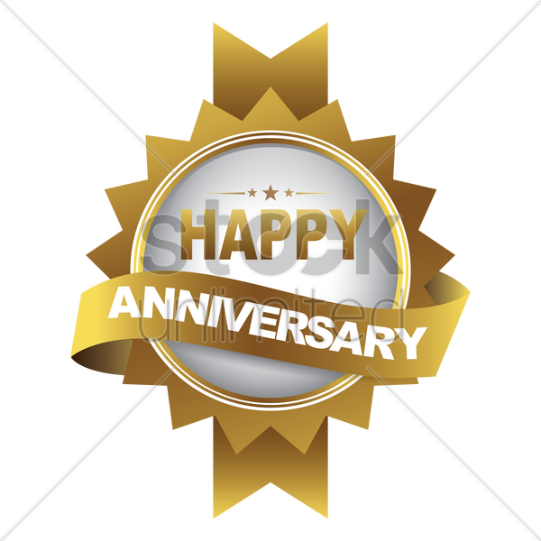 happy anniversary label vector graphic