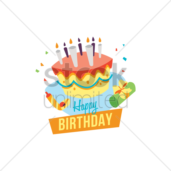 happy birthday card with cake vector graphic