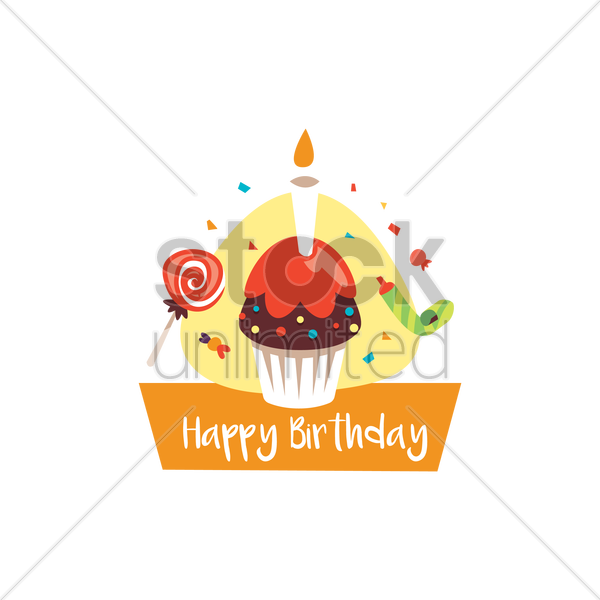 happy birthday card with cupcake vector graphic