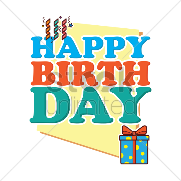 happy birthday card vector graphic