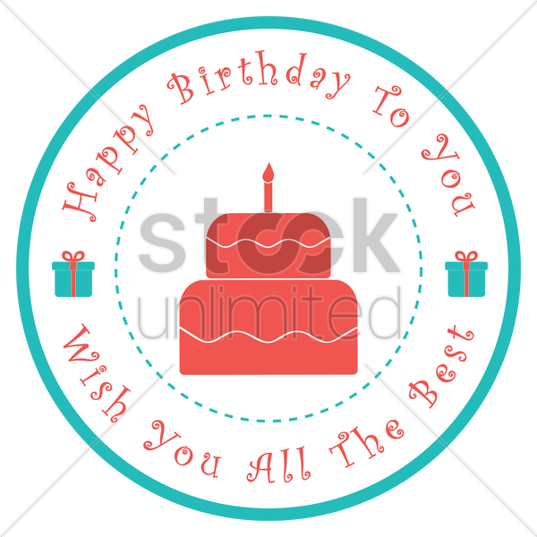 happy birthday label design vector graphic