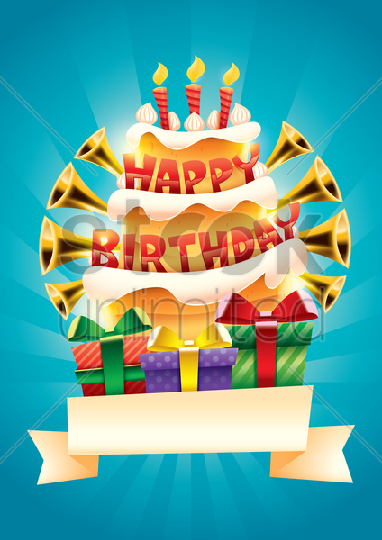 happy birthday poster vector graphic
