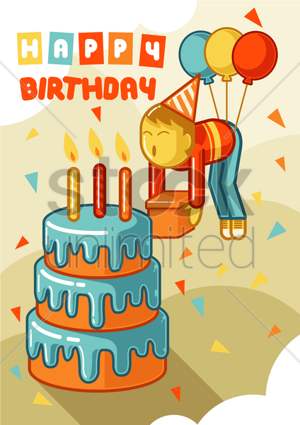 happy birthday vector graphic