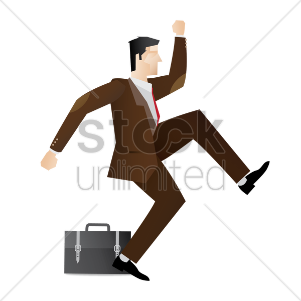 happy businessman jumping in air vector graphic