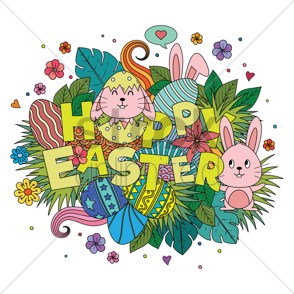 happy easter card vector graphic