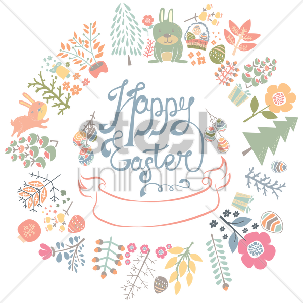 happy easter greeting card vector graphic