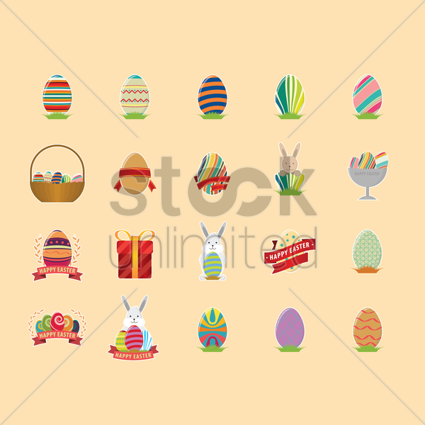 happy easter set vector graphic