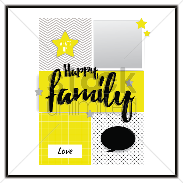 happy family instant photos vector graphic