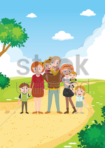 happy family poster vector graphic
