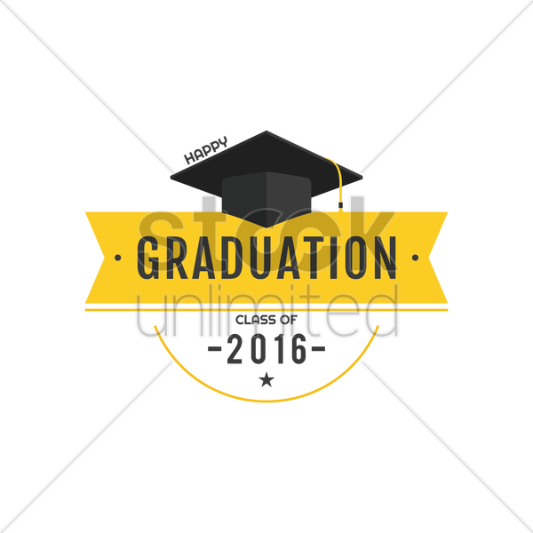 happy graduation class of 2016 vector graphic