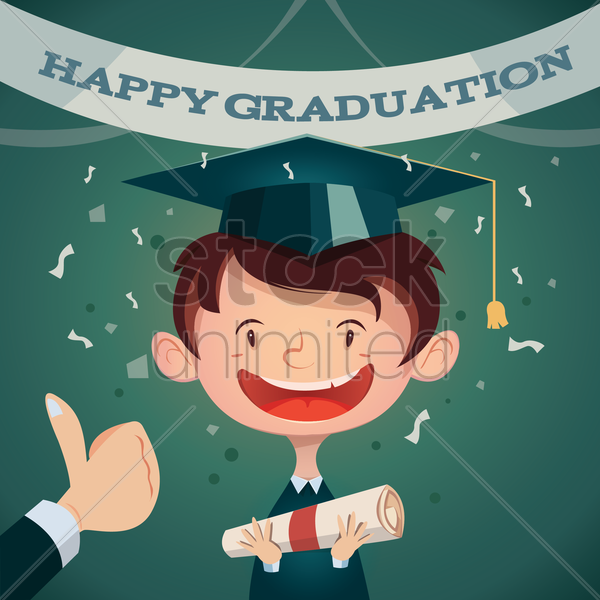 happy graduation poster vector graphic