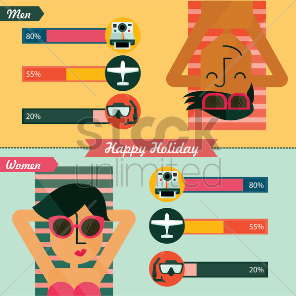 happy holiday infographic vector graphic