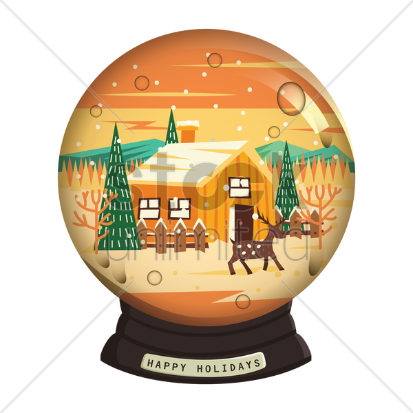 happy holidays snow globe vector graphic