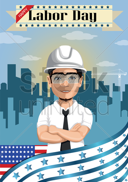 Free happy labor day poster vector graphic