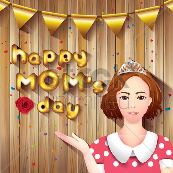happy moms day card vector graphic