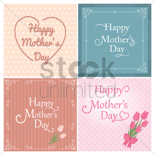 happy mothers day card collection vector graphic