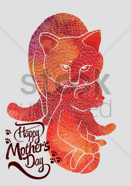 happy mothers day card with cats vector graphic