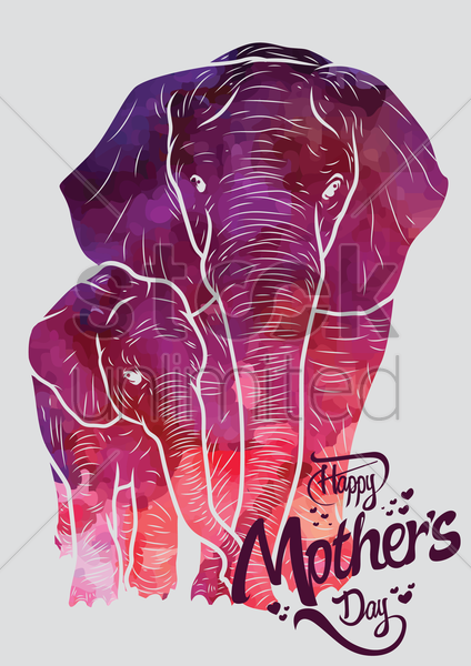 happy mothers day card with elephants vector graphic