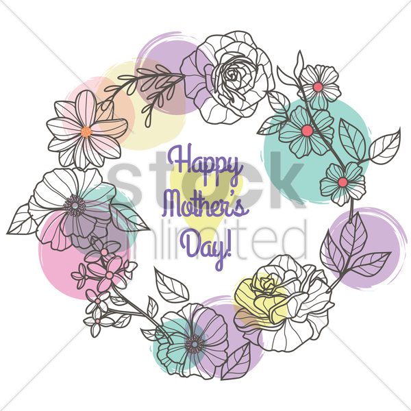 happy mothers day card with flowers vector graphic