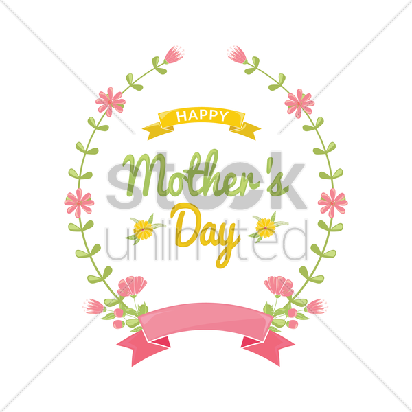 happy mothers day floral design vector graphic