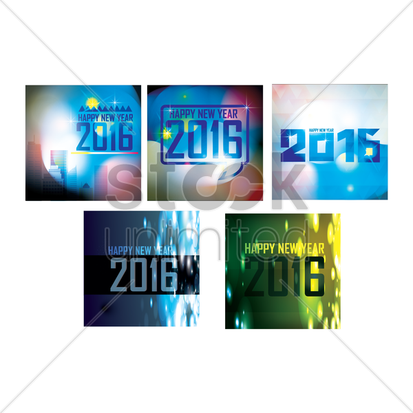 happy new year 2016 collection vector graphic