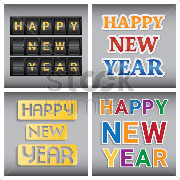 happy new year collection vector graphic