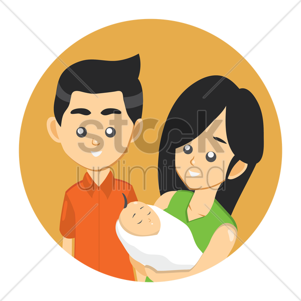 happy parent with a baby vector graphic
