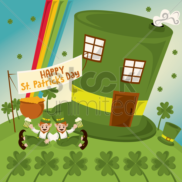 happy st. patrick's day vector graphic