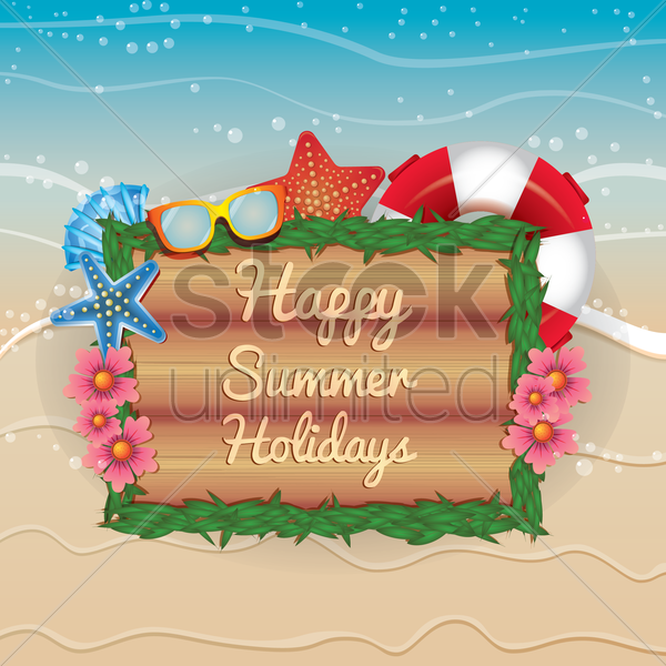 happy summer holidays vector graphic