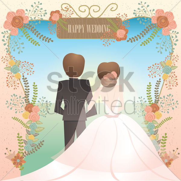 happy wedding card vector graphic