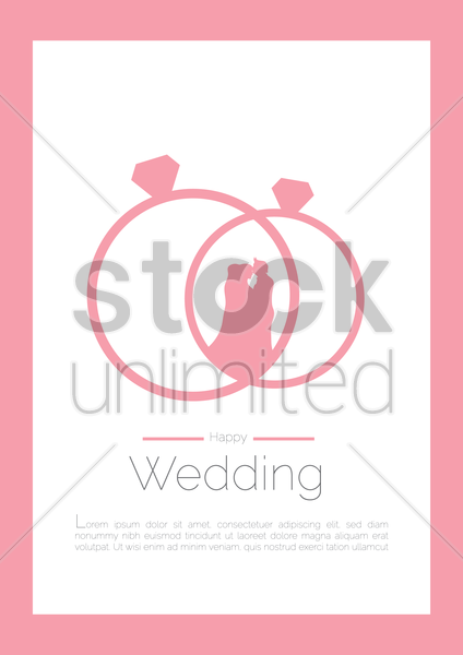 happy wedding couple poster vector graphic