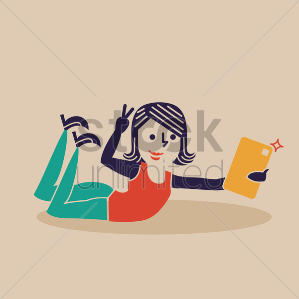 Free happy woman taking a selfie vector graphic