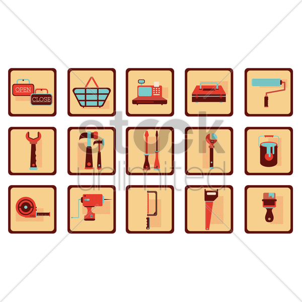 hardware collection vector graphic