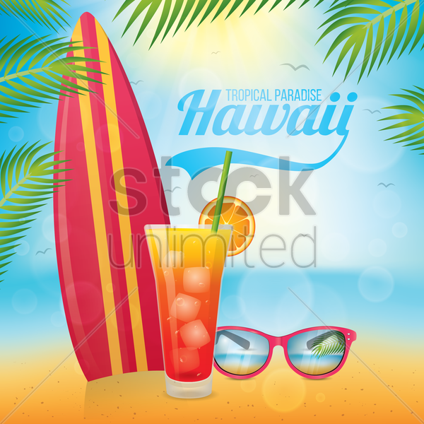 hawaii beach vector graphic
